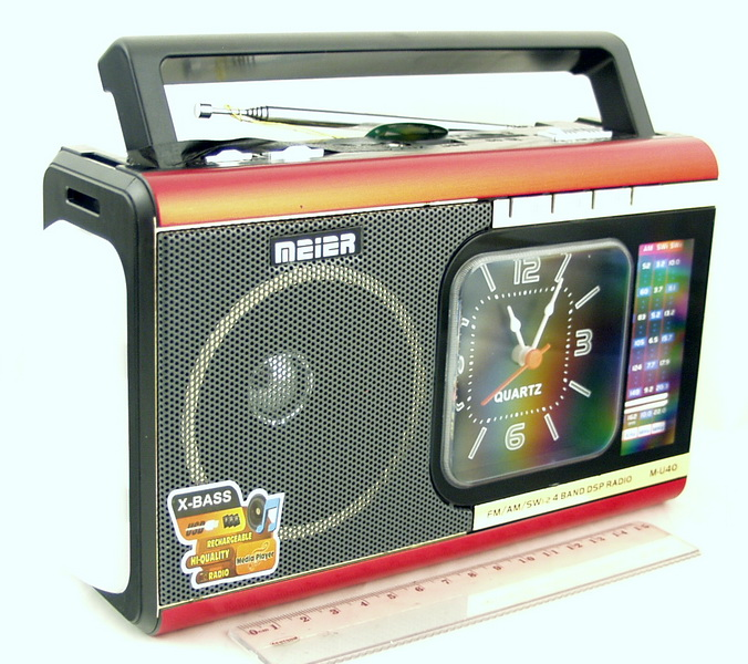 M-U40 (FM,AM,SW1/2) сетев. SD, USB, фонарь, часы сетев./2R20/съемн. акк.
