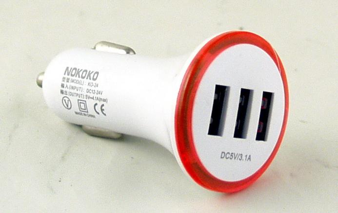 Блок питания для MP3 (3 USB,без шн.) 5V 2,1+1A+1A прикур. KO-24