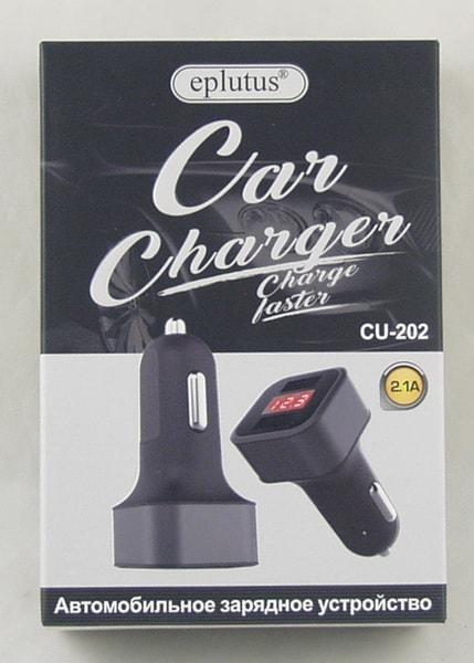 Блок питания для MP3 (2 USB,без шн.) 5V 2,1A прикур. CU-202 с вольтметром