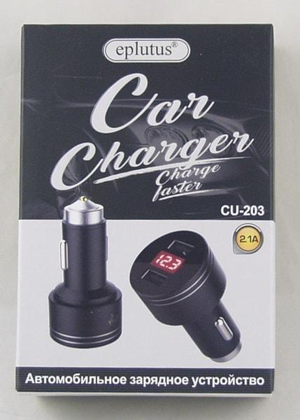 Блок питания для MP3 (2 USB,без шн.) 5V 2,1A прикур. CU-203 с вольтметром