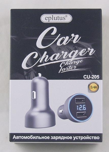 Блок питания для MP3 (2 USB,без шн.) 5V 3,4A прикур. CU-205 с вольтметром