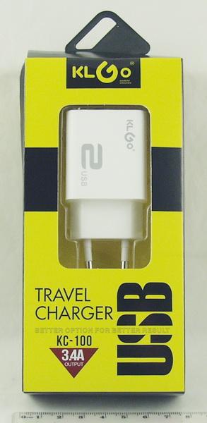 Блок питания для MP3 (2 USB,без шн.) 5V 3,4A сетев. KC-100