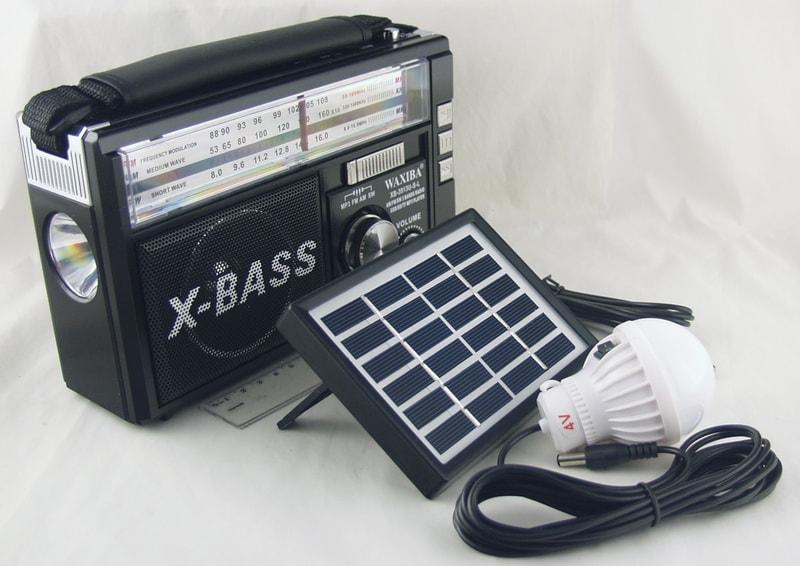 XB-3913U-SL (FM,AM,SW1/2) сетев. SD, USB, 2 лампы, солнечн. батар.