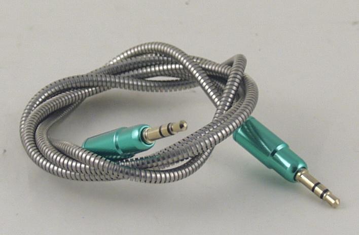 Шнур AUX (Джек 3,5 - Джек 3,5) 1м метал. M-301