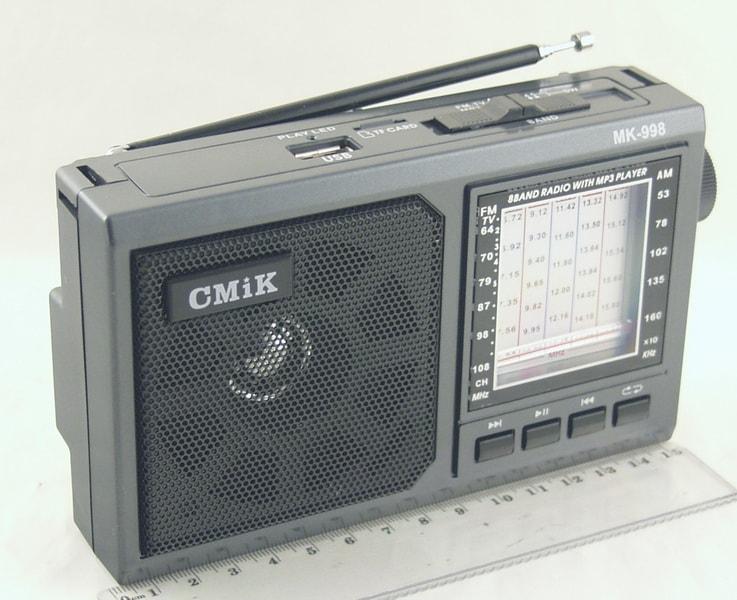 Радиоприёмник MK-998 8 band (FM 64-108,AM) USB, SD встроен. аккум.