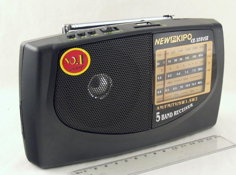 Радиоприёмник KIPO KB-308АС/40 (AC&DC) 5-band сетев./2R20 USB NEW