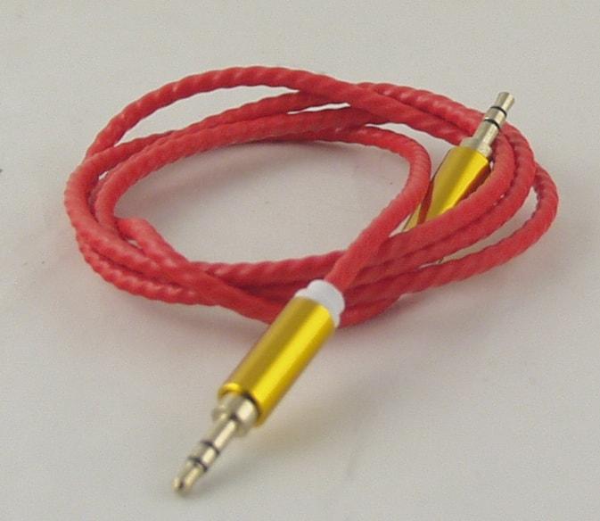 Шнур AUX (Джек 3,5 - Джек 3,5) 1м гелев. спираль G-13