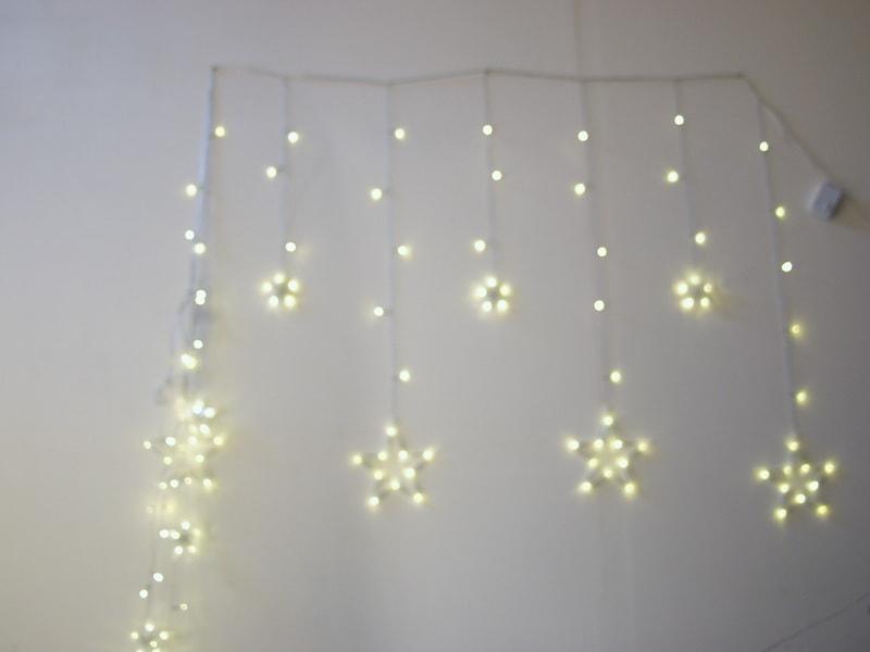 Гирлянда - штора (бахрома) светодиод.+ звездочки тепл. белые 3м*1м 8реж.