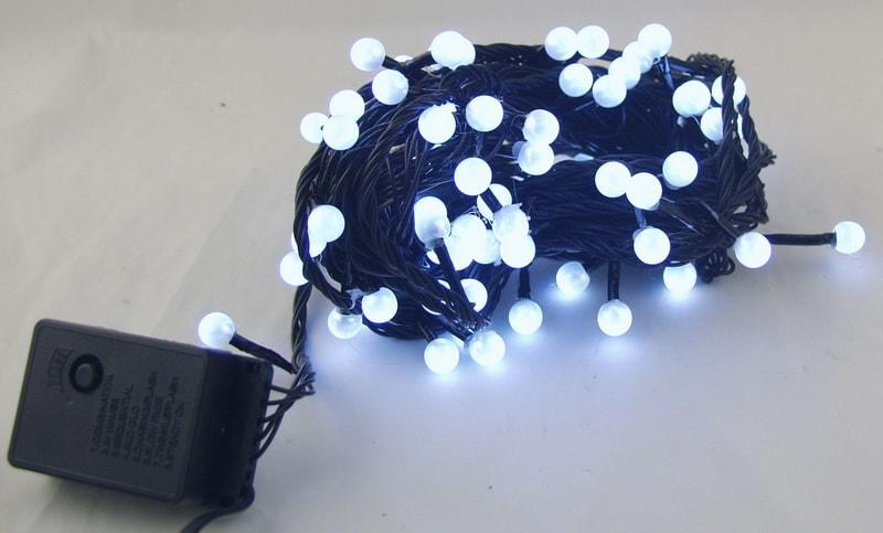 Гирлянда 100-80 светодиод. (10 мм) белые черн. шнур J-15 9м жемчуг