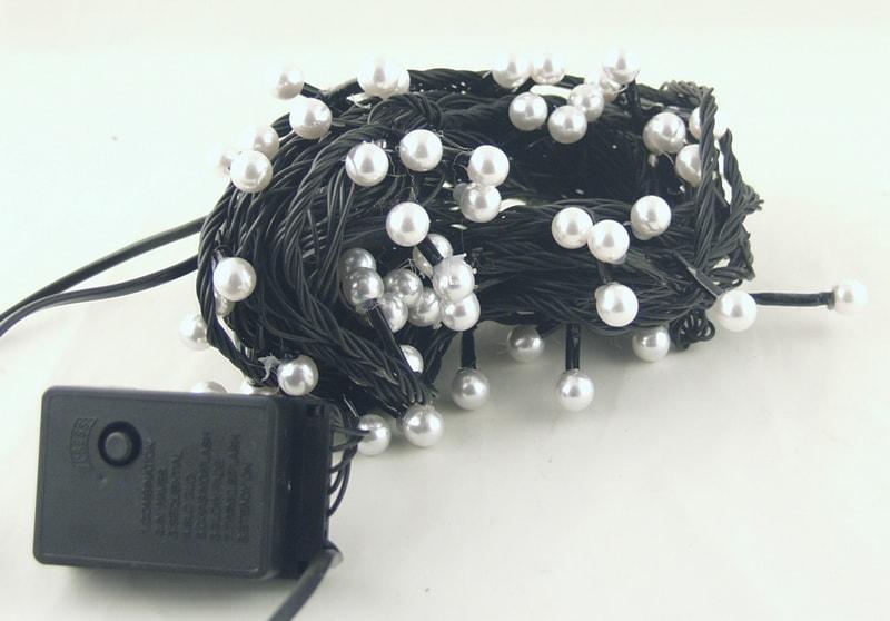 Гирлянда 100-80 светодиод. (10 мм) теплые белые черн. шнур J-15 9м жемчуг
