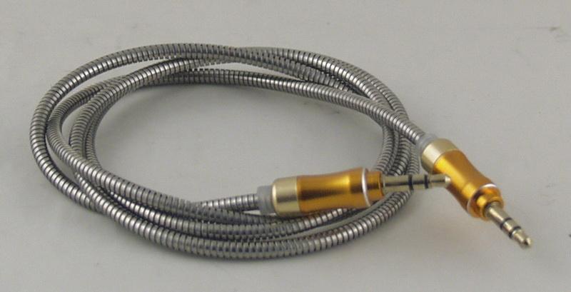 Шнур AUX (Джек 3,5 - Джек 3,5) 1м метал. M-17