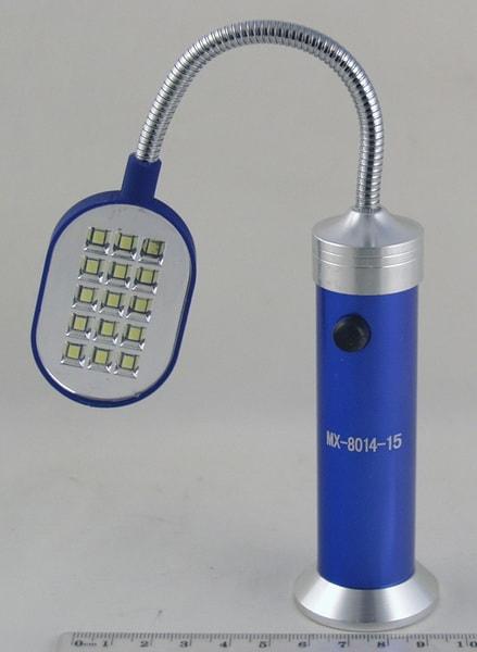 Фонарь светодиодный (15 больш. ламп, 3AAА) MX-8014-15.на магните, гнущ.