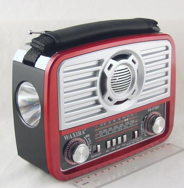 Радиоприёмник XB-472BT (FM/AM/FM) SD, USB сетев. встроен. аккум. фонарь Bluetooth