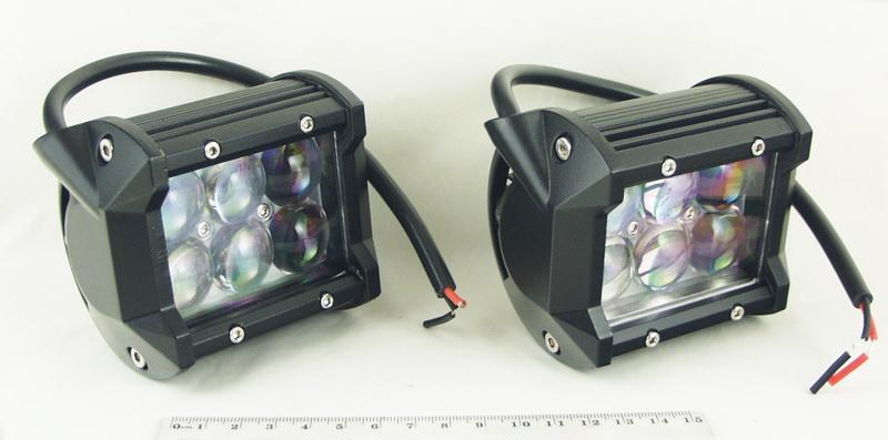 Фары светодиодные 6 ламп 18W-6E (дальний) прямоуг.