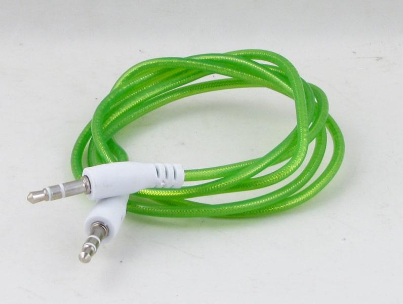 Шнур AUX (Джек 3,5 - Джек 3,5) 1м гелевый JD-22 зеленый